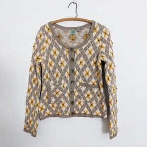 Anthropologie Monogram Mustard Grandma Cardigan